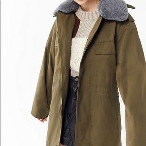 Vintage Faux Fur Collar Hooded Military Jacket